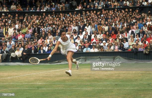 English tennis player Virginia Wade competing in the Ladies' Singles at the Wimbledon Lawn Tennis Championships London 1971