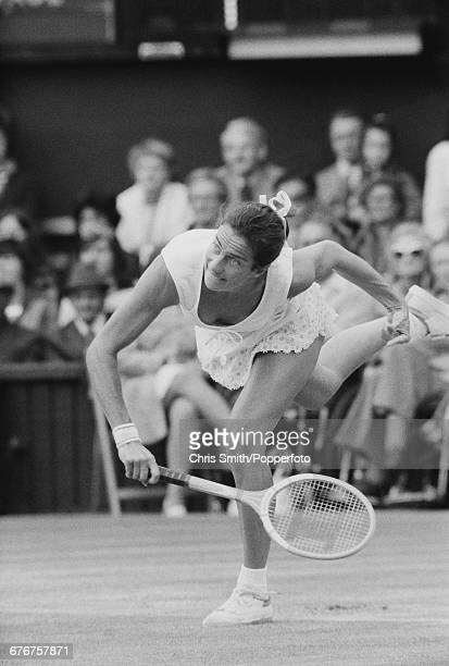 English tennis player Virginia Wade pictured in action during her fourth round match against American tennis player Rosemary Casals before...