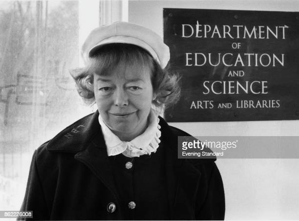 English theatre director Joan Littlewood director of the Theatre Workshop arrives at the office of the Minister of State for the Arts Norman St...