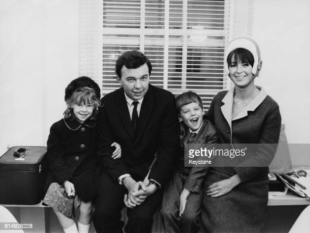 English theatre director Peter Hall director of the Royal Shakespeare Company with his second wife Jacqueline Taylor after their marriage at...