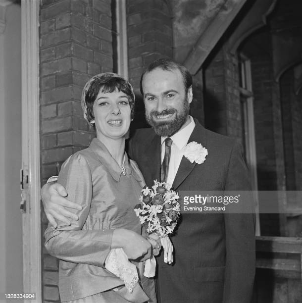 English theatre director Robin Midgley marries actress Liane Aukin , UK, 1st April 1965.
