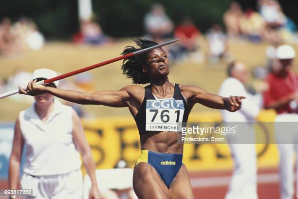 English track and field athlete Denise Lewis competes in the javelin discipline of the heptathlon event at the Amateur Athletics Association...