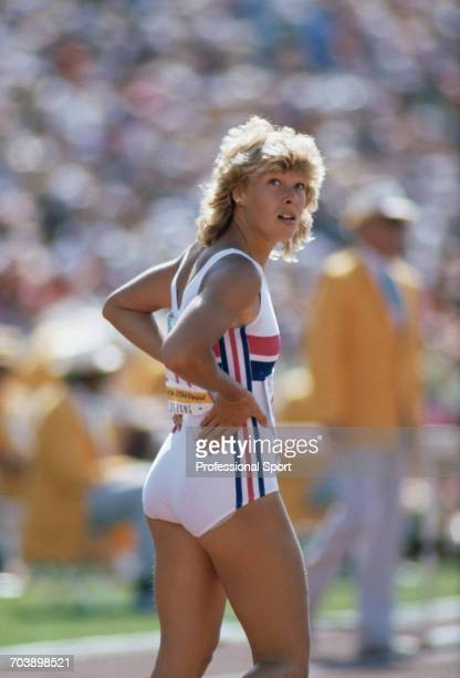 English track athlete Shirley Strong pictured during competition for Great Britain to finish in 2nd place to win the silver medal in the Women's 100...