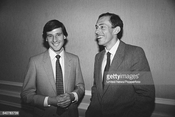 English track athletes and middle distance runners, Sebastian Coe and Steve Ovett pictured together in London on 4th May 1982.