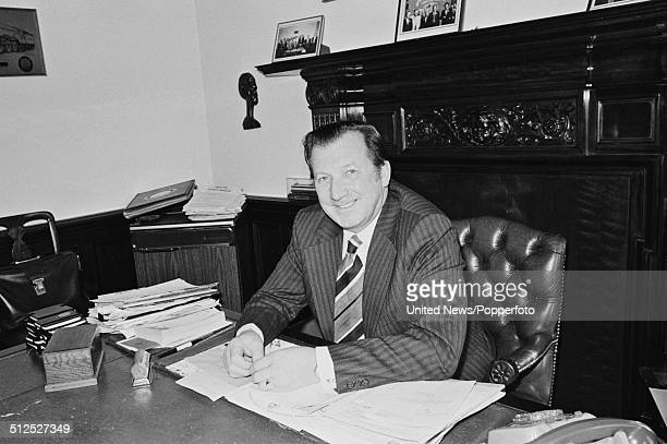 English trade union leader and General Secretary of ASLEF Ray Buckton pictured at his desk in London on 4th November 1977