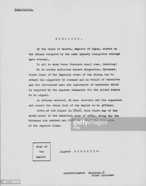 English translation of the letter confirming Japan's surrender during World War Two signed by Emperor Hirohito and Foreign Minister Mamoru Shigemitsu...