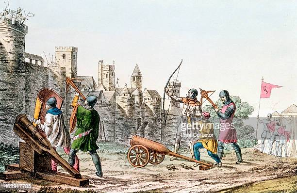 English troops attacking a French town Hundred Years War 13371453 The English besiegers are armed with early cannon and both longbows and crossbows