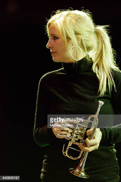 English trumpet soloist Alison Balsom rehearsing at the Royal Albert Hall in London 13th October 2014