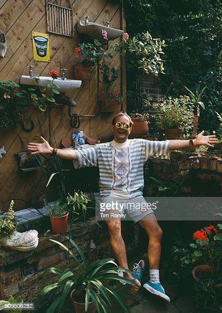 English TV presenter Timmy Mallett in the garden of his home circa 1990