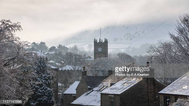 english village on a cold winter morning - january stock pictures, royalty-free photos & images