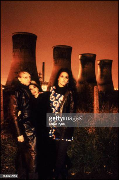 English vocalist and songwriter Mark E Smith with his wife American guitarist Brix Smith and American keyboard player Marcia Schofield of British...