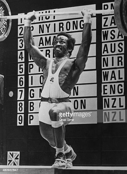 English weightlifter George Newton competing in the Lightweight class at the British Commonwealth Games in Christchurch New Zealand 30th January 1974...