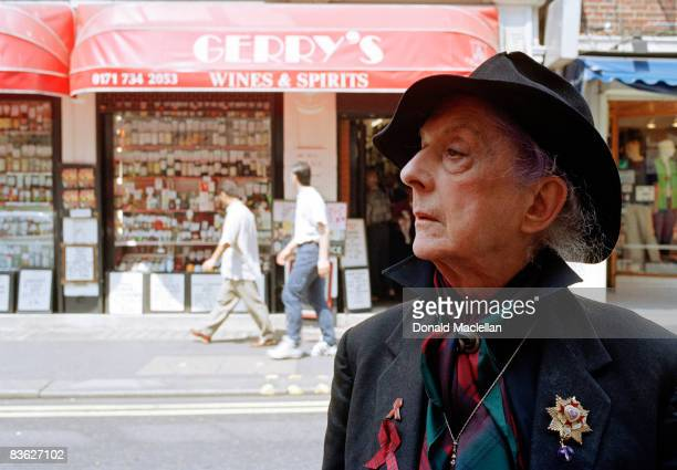 English writer, actor, artist's model and gay icon Quentin Crisp , Old Compton Street, London, 26th June 1996.