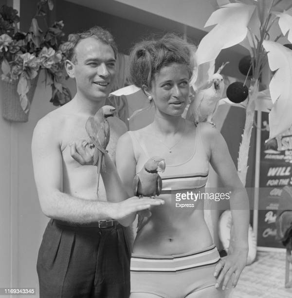 English writer, actor, director and comedian Ken Cambell with actress Gabriella Laferner rehearsing for an aquatic version of 'Treasure Island' at...