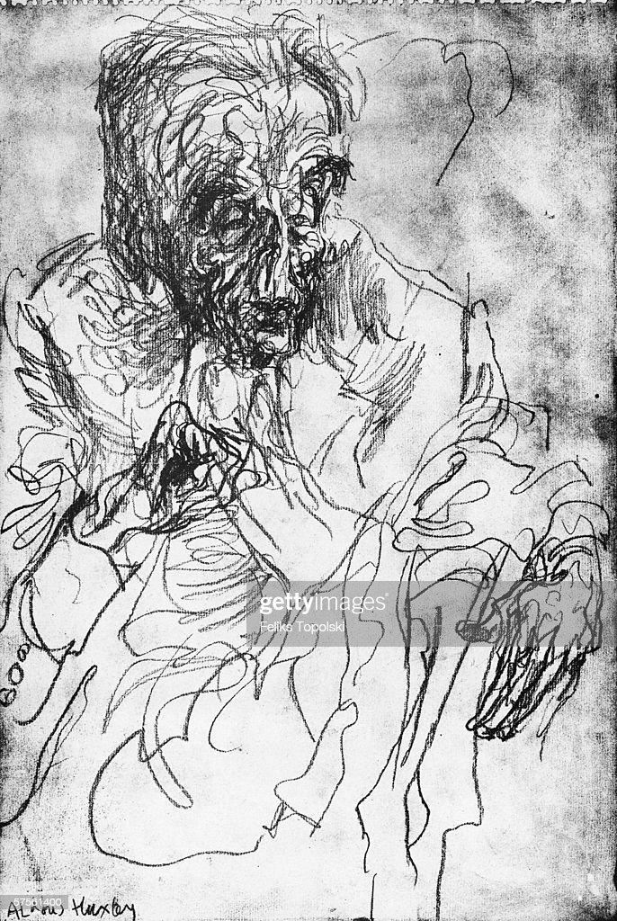 English writer Aldous Huxley (1894 - 1963). A sketch by Polish-born British expressionist Feliks Topolski from Topolski's Chronicle Vol X, pub. 1962.