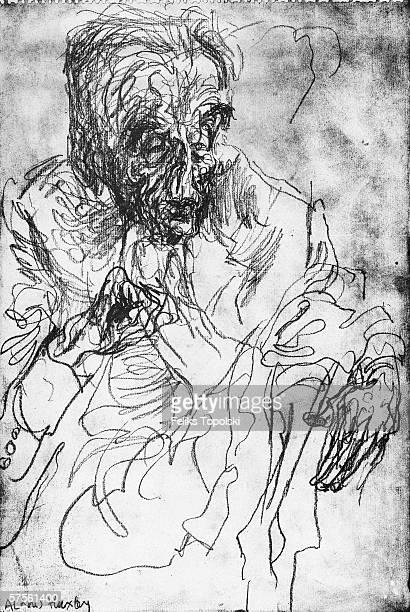 English writer Aldous Huxley A sketch by Polishborn British expressionist Feliks Topolski from Topolski's Chronicle Vol X pub 1962