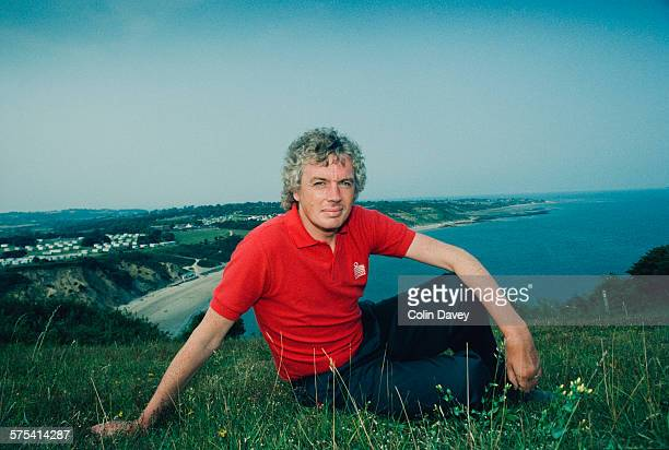 English writer and conspiracy theorist David Icke poses on the clifftop at Whitecliff Bay on the Isle of Wight, UK, 26th June 1992. Icke lives nearby...