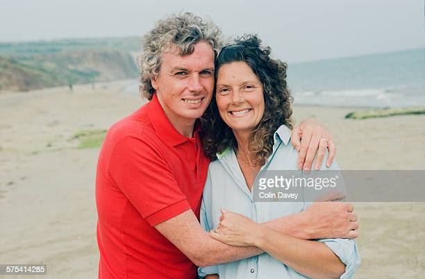English writer and conspiracy theorist David Icke poses with his first wife Linda on the Isle of Wight, UK, 26th June 1992. Icke lives nearby in the...