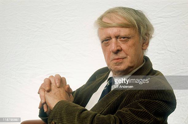 English writer Anthony Burgess poses during a portrait session held on January 24 1983 in Paris France