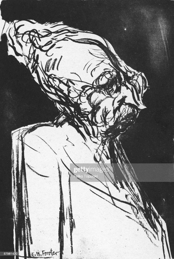 English writer Edward Morgan Forster (1879 - 1970). A sketch by Polish-born British expressionist Feliks Topolski from Topolski's Chronicle Vol X, pub. 1962.
