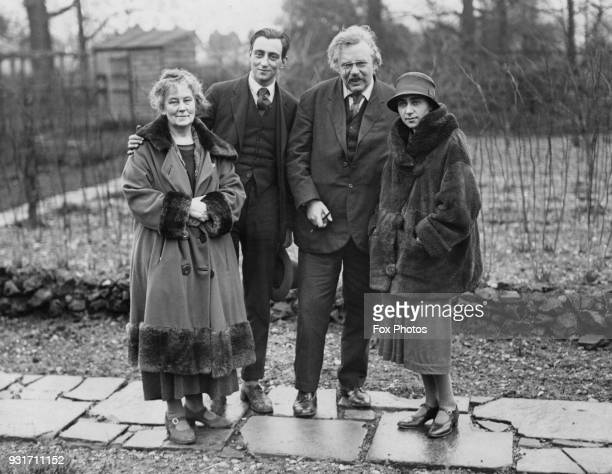 English writer G K Chesterton at his home in Beaconsfield UK with his wife writer Frances Blogg February 1926