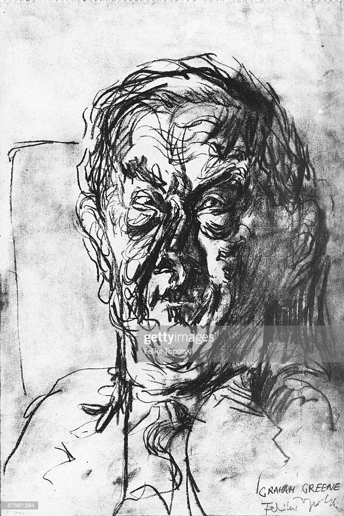 English writer Graham Greene (1904 - 1991). A sketch by Polish-born British expressionist Feliks Topolski from Topolski's Chronicle Vol X, pub. 1962.