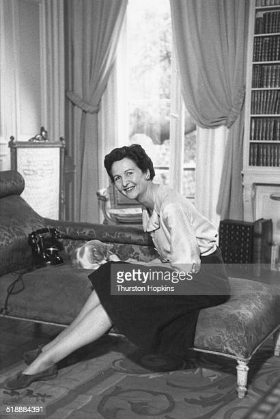 English writer Nancy Mitford at her apartment in Paris May 1956 Original publication Picture Post 8381 Always True To U Darling pub 12th May 1956
