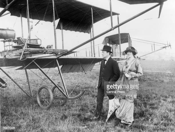 English writer politician and future Prime Minister Winston Churchill and his wife Clementine at Hendon Air Pageant