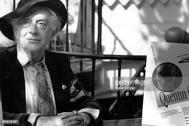 English writer Quentin Crisp , author of 'The Naked Civil Servant', in New York City, ca.1990s.