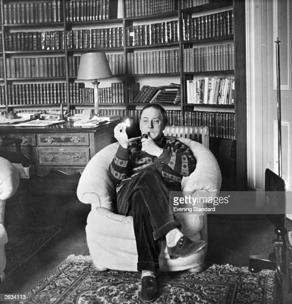 English writer Sir Edward Montague Compton Mackenzie at his home. Original Publication: People Disc - HJ0372