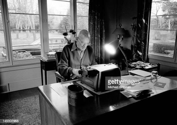 English writer Sir Pelham Grenville Wodehouse KBE aka P G Wodehouse at work in Remsenburg New York State 14th December 1974 The great humorist had...