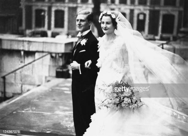English writer The Hon Nancy Mitford and The Hon Peter Rodd after their wedding at St John's Church, Smith Square, London, 4th December 1933.