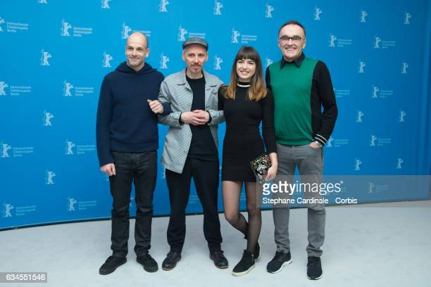 EnglishAmerican actor Jonny Lee Miller Scottish actor Ewen Bremner Bulgarian actress Anjela Nedyalkova and British director Danny Boyle attend the...