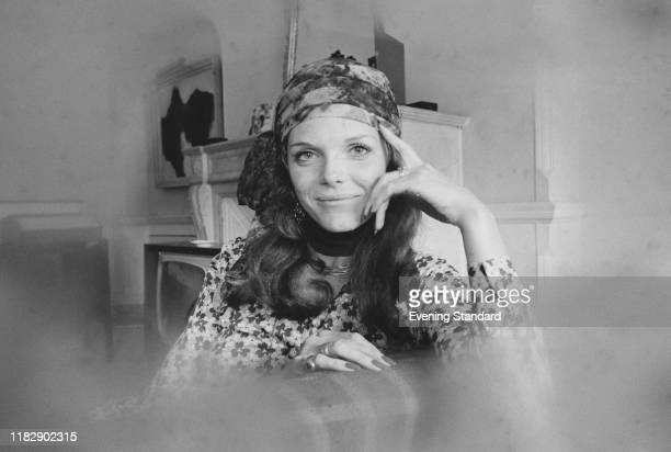 EnglishAmerican film stage television and voice actress Samantha Eggar wearing flower dress and headscarf UK 8th May 1970