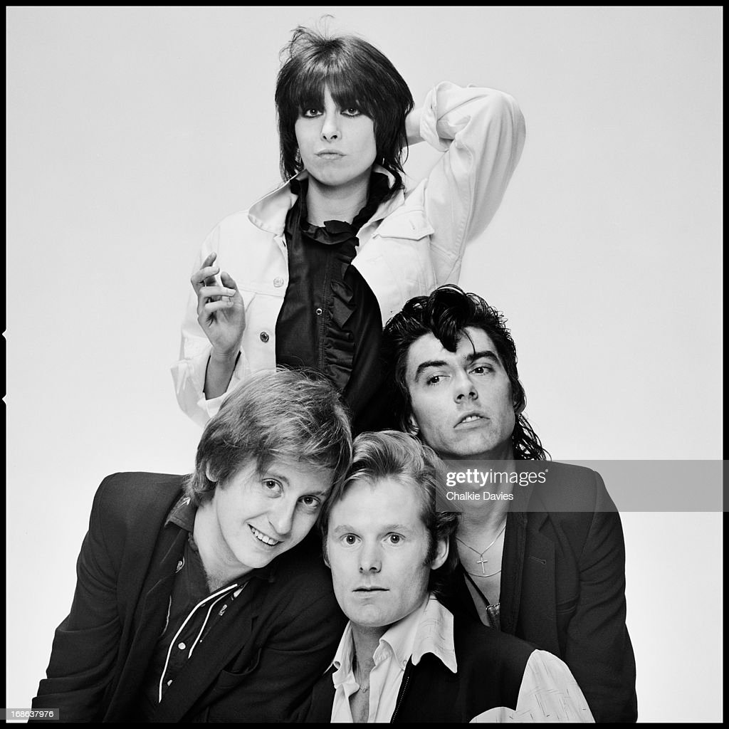 English-American rock group The Pretenders, photographed in London, 1980. Clockwise from top: singer and guitarist Chrissie Hynde, bassist Pete Farndon (1952 - 1983), drummer Martin Chambers and guitarist James Honeyman-Scott (1956 - 1982).
