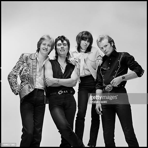 English-American rock group The Pretenders photographed in London, 1980. Left to right: guitarist James Honeyman-Scott , bassist Pete Farndon (1952 -...