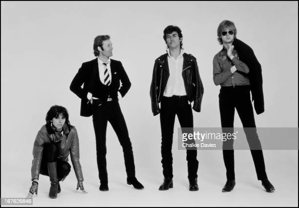 EnglishAmerican rock group The Pretenders pose in a session for the cover of their debut album London 1979 Left to right singer and guitarist...