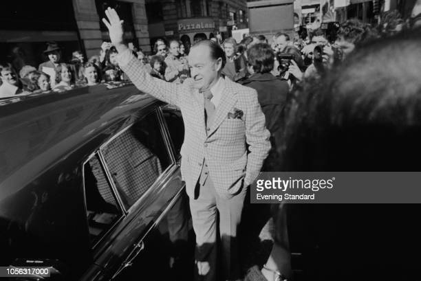 English-American stand-up comedian actor, singer, and entertainer Bob Hope greeting fans, London, UK, 23rd March 1979.