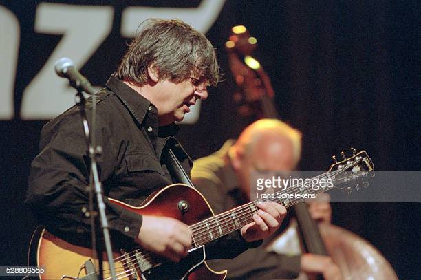 English-Belgian guitarist Philip Catherine performs with Hein van der Gein, bass, on July 16th 2001 at the North Sea Jazz Festival, the Hague,...