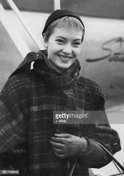 Englishborn actress singer and dancer Jeannie Carson arrives at London Airport from the United States 7th December 1954