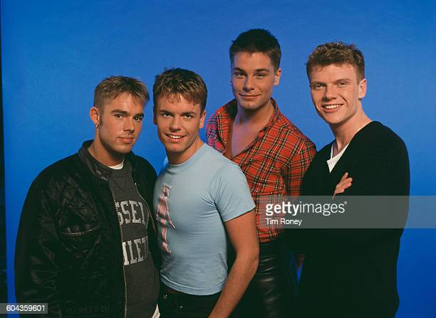 English/Dutch boy band Caught in the Act circa 1995 From left to right they are Benjamin Boyce Lee Baxter Eloy De Jong and Bastiaan Ragas