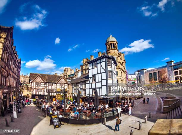 englnd, manchester, pub at shambles square - manchester uk stock photos and pictures