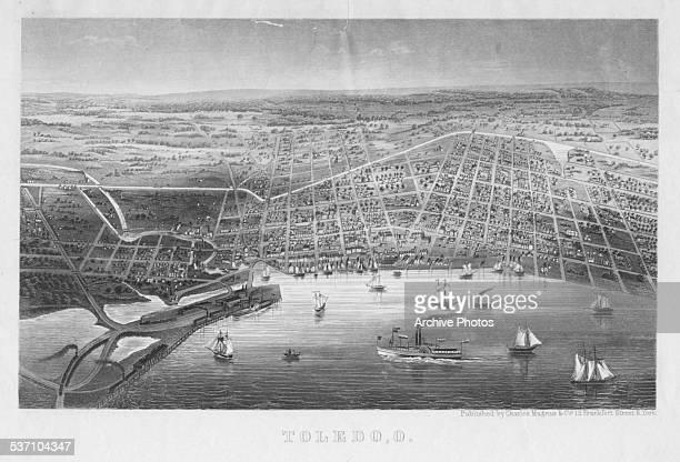 Engraved aerial view of the city of Toledo, Ohio, circa 1850.