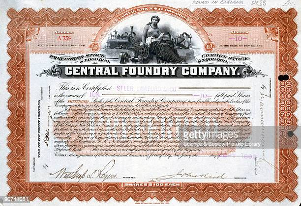Engraved certificate issued on behalf of the Central Foundry Company of Brazil featuring a vignette of a woman surrounded by machinery Printed by the...