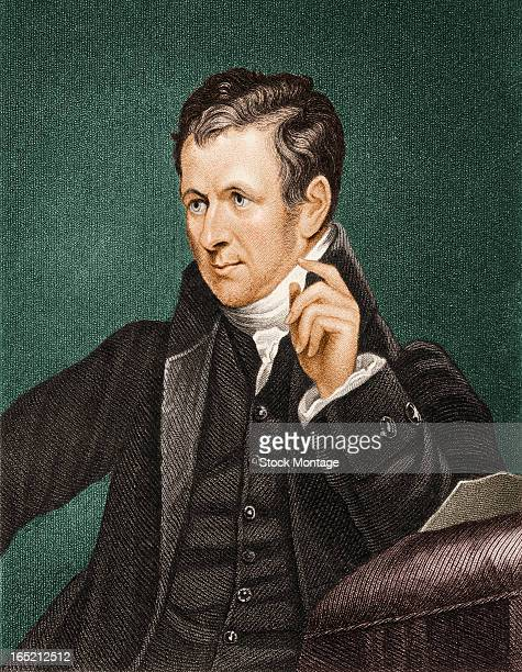 Engraved color portrait of English chemist and president of the Royal Society Sir Humphry Davy , early 19th century.