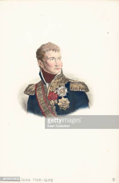 Engraved color portrait of Marshal Jean Lannes in military uniform circa 17901809
