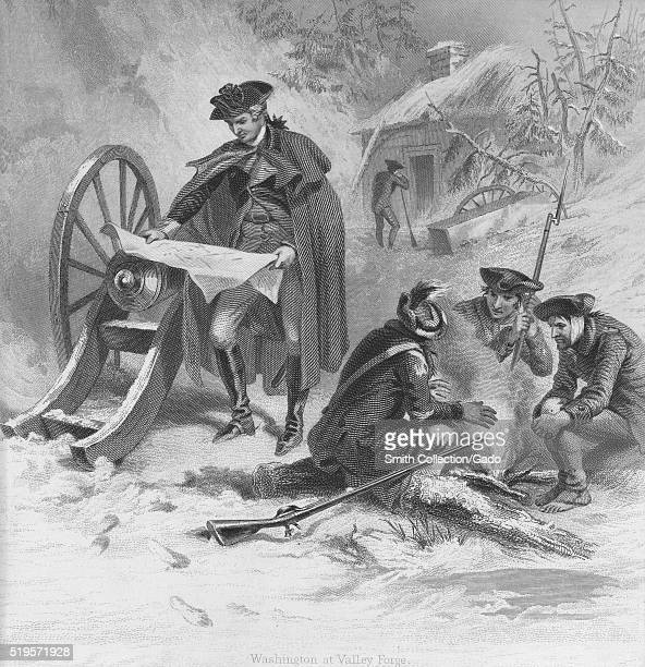 Engraved depiction of soldiers outside in the cold some sitting around a fire one standing looking at a map in the background a soldier standing in...
