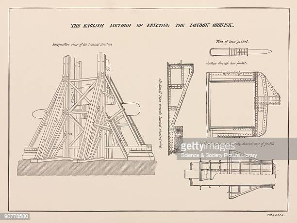 Engraved drawing from 'Egyptian Obelisks' by Henry H Gorringe The diagram shows the iron jacket and wooden beams used to erect this Egyptian obelisk...