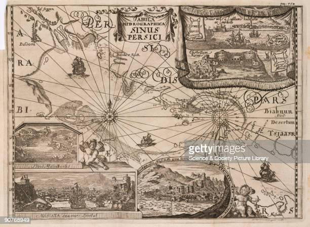 Engraved hydrographic chart of the Persian coast including �Bassora� top left Bahrain and the Straits of Hormuz There are also illustrations of the...