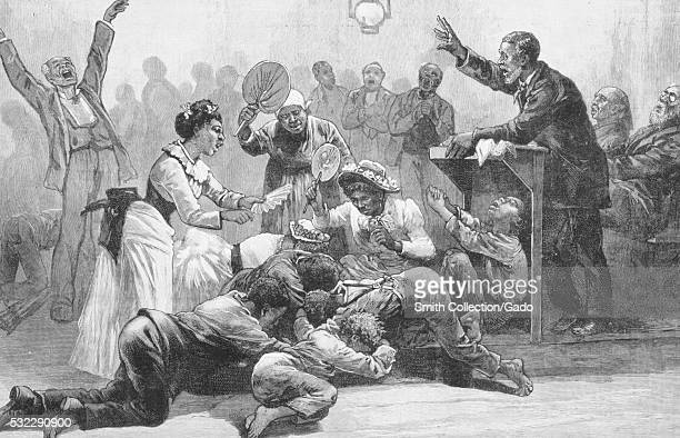 Engraved illustration of a scene at a revival meeting a series of Christian religious services held to inspire active members of a church body to...